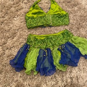 Green and blue sequin dance costume